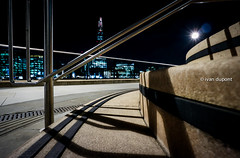 And behind ... the Shard by Renzo Piano, London, United KIngdom (monsieur I) Tags: longexposure greatbritain summer london water skyline architecture night skyscraper europe unitedkingdom thecity wideangle renzopiano theshard monsieuri