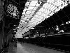 Last Train (nenneck) Tags: white black london clock station last train fast away run trainstation paddington far