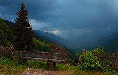Rain in the valley _MG_9216m(1) (maxo1965) Tags: rain bench thunderstorm sdtirol osttirol hochpustertal altapusteria pratoalladrava winnebach