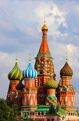 Saint Basil's Cathedral (Julia_Kul) Tags: old city travel blue red summer sky building brick tower tourism church monument saint st museum architecture square european day cross cathedral symbol russia moscow traditional famous capital religion culture landmark historic cupola dome basil christianity unusual russian orthodox kremlin blessed vasily religionicon
