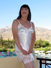 Girly pleasure (Paula Satijn) Tags: sun white holiday hot sexy pool stockings girl smile sunshine outside happy shiny joy silk tgirl crete transvestite satin gurl chemise nightie