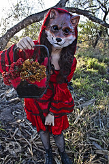 Through the Woods 7472 (JoDi War) Tags: trees sunset red wild nature grass fairytale dark lost blood woods wolf dress boots lace gothic victorian velvet hood storybook rhyme grandmothershouse nurseryrhyme throughthewoods storytale