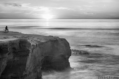 Sunset Cliffs (Eddie 11uisma) Tags: california sunset 2 bw white seascape black beach canon landscape san mark diego cliffs ii 5d