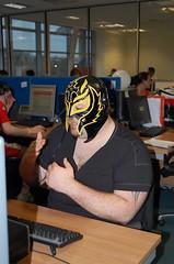 Wrestler (Save Britain Money) Tags: swansea wales work fun office costume phone mask wrestler nes fancydress sportsday telesales sbm matrixpark salesagents savebritainmoney nationwideenergyservices