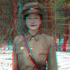 Guide in Mount Paektu - 3D - North Korea (Eric Lafforgue) Tags: woman snow cold monument army 3d war uniform asia military femme anaglyph korea communism stereo cap casquette asie neige guide cloth coree guerre froid militaire communisme northkorea armee onepeople uniforme dprk coreadelnorte nordkorea waistup    coreadelnord  mountpaektu samjiyon dscf0644 coreedunord  insidenorthkorea  rpdc  coreiadonorte  cadragealataille montpaektu audessusdelataille montbaekdu mountbaedkdu