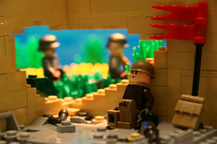 'When the sun goes down....' ([Stijn Oom]) Tags: house lego russia story legos ww2 fields strong ba russian milestone tanks germans molotovcocktail kursk stahlhelm brickarms