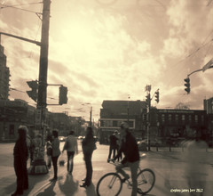 Cyclist2 (StephenKerrPhotography) Tags: blackandwhite toronto streetphotography pinhole fujiacross100 zeroimage612b