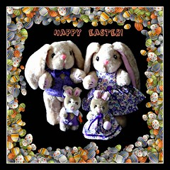 The Easter Bunnies wish you a Happy Easter! (martian cat) Tags: macro easter onblack martiancatinjapan allrightsreserved diamondclassphotographer flickrdiamond martiancatinjapan martiancatinjapan teddybearsinjapan teddybearsinjapan