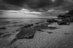 Beachscape (Bllparkfrank) Tags: ocean blackandwhite bw white seascape black beach nature japan landscape island sand rocks gray shoreline okinawa hdr greyscale sigma1020 sigmalenses canon7d