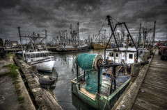 New Bedford's Working Waterfront (Frank C. Grace (Trig Photography)) Tags: ma boats harbor pier fishing waterfront pentax cloudy massachusetts ships working hdr deepsea newbedford tonemapped