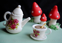 Alice in Wonderland Mad Hatter Cake (thecustomcakeshop) Tags: birthday cup hat cake shop tea alice teapot mad custom wonderland hatter toadstools