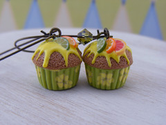 Citrus Cupcake Earrings (Shay Aaron) Tags: summer food miniature spring lemon geek sweet handmade chocolate mini jewelry collection polymerclay fimo tiny grapefruit lime wearable orage frosting petit liner longearrings shayaaron