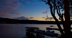 7-7-2012~Boat Trails at Sunset (SimplyAmy74) Tags: sunset sky lake water clouds boats washingtonstate jetski newmanlake boattrails
