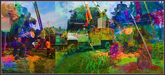 Ash Tree Removal. Explore July 11 #64 (Tim Noonan) Tags: orange colour green art texture digital photoshop truck tim saw triptych lift crane manipulation explore stump ashtree removal mosca hypothetical sawdust digi ashbridges vividimagination artdigital shockofthenew sotn stickybeak newreality sharingart maxfudge awardtree maxfudgeexcellence maxfudgeawardandexcellencegroup trolledproud magiktroll exoticimage digitalartscene netartii digitalartscenepro helpsavetheashtrees almileytree