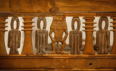 Detail from Hatnefer's Chair, 1492-1473 BC (Valentinian) Tags: nyc woodwork chair manhattan carving egyptian hatshepsut metropolitanmuseumofart ancientegypt metmuseum bes thutmoseiii ancientegyptianart dynasty18 hatnefer hatneferschair ancientegyptianwoodwork