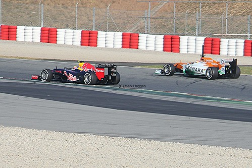 Mark Webber and Paul di Resta on circuit at Winter Testing, Circuit de Catalunya, March 2012
