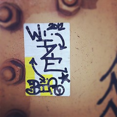 WIZE (BIA) (billy craven) Tags: chicago graffiti sticker bia handstyles wize slaptag uploaded:by=instagram