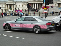 Bosco Audi A8L (kenjonbro) Tags: uk england london westminster silver grey pattern rear trafalgarsquare audi charingcross 2012 sw1 bosco a8l worldcars kenjonbro fujifilmfinepixhs10 russianofficialoutfitter ou12xac