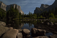 Valley View Under a Full Moon (Joe Ganster) Tags: california park ca light moon mountain fall water night clouds zeiss canon reflections river stars us veil view mark merced joe el falls sierra full national ii valley yosemite 5d bridal range capitan 21mm ganster