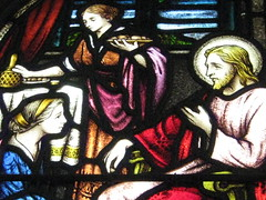 Detail of a Stained Glass Window in the St Peter the Mariner Chapel; the Mission to Seamen - Flinders Street, Melbourne (raaen99) Tags: blue red woman building green church window yellow architecture club hotel inn chair women memorial harbour interior lodging religion jesus sailors halo australia melbourne chapel courtyard victoria bible historical recreation nautical 1910s shelter 20thcentury stainedglasswindow biblical edwardian flindersstreet 40s 1917 servant 1900s flindersst anglicanchurch 1946 welfare 1916 moh leadlight seamen placeofworship spanishmission seafarer churchwindows satinedglass twentiethcentury melbournearchitecture anglicanchapel spanishmissionstyle leadlightglass edwardiana spanishmissionarchitecture inmemorandum karenbrady walterbutler missiontoseamen melbourneopenhouse hostlery architecturallydesigned openhouse2012 moh2012 melbourneopenhouse2012 missiontoseamenbuildings stpeterthemarinerchapel harbourlightsguild