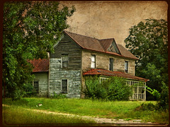 The Old House and the Friendly Beagle:  Hilliardston Road, Nash County, North Carolina (EdgecombePlanter) Tags: light dog beagle grass farmhouse rural weeds moody shadows sad decay victorian serene deterioration dirtpath rurallandscape