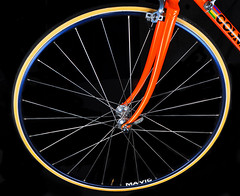 Colnago's Mavic Front Wheel (Bill Gracey 25 Million Views) Tags: detail bike bicycle wheel blackbackground vintage sb600 brakes foreign colnago softbox collector mavic strobes offcameraflash nikoncreativelightingsystem nikoncls mavicwheel sb700