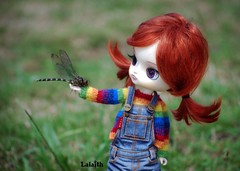 Dragonfly (_Lalaith_) Tags: bug garden rainbow eyes colorful doll purple dragonfly dal redhead libelula carrot overalls denim pigtails rewigged ttya lizbel