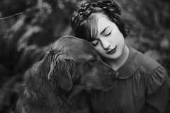 (from the seed) Tags: blackandwhite woman dog love film girl monochrome puppy friend friendship lips textures lipstick unconditional thisislove fakefilm filmtexture