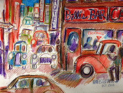 COCKTAIL LOUNGE ON THE CORNER (roberthuffstutter) Tags: style expressionism impressionism huffstutter watercolorsbyhuffstutter artmarketusa
