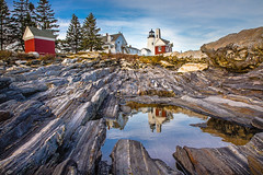 Pemaquid Reflection (Robert Clifford) Tags: ocean blue trees sunset red sky lighthouse reflection water rocks dusk maine newengland coastline tidalpool pemaquidlighthouse robertallanclifford cliffordphotographynhcom