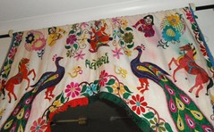 TORAN (RubyGoes) Tags: pink blue horse orange india flower green leaves yellow indian tail feathers peacock cotton ganesh om gujarat frills frill brpwn