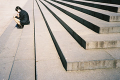 Sitting on the Steps of St Paul's Cathedral (The Nick Page) Tags: street london film 35mm alone candid steps stpaulscathedral olympusxa2