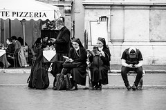 Do I have to read it? (lorenzoviolone) Tags: italy roma hat bench reading reflex nikon streetphotography books nun nuns smartphone backpacks streetphoto dslr pizzeria piazzanavona lazio readers sitdown navonasquare setdown d5200 nikkor18105mm streetphotobw nikond5200 walk:rome=april2016