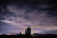 A.V.S.2 (adria.husa) Tags: longexposure blue light sky church silhouette night clouds stars shadows astronomy nightsky movingclouds