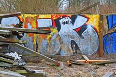Träbråte 4 (Quo Vadis2010) Tags: art tom painting graffiti se ruins paint grafitti message sweden empty konst doodle graffitti expressive scrawl lonely sverige solitary revolt scribble halmstad tegel disrepair klotter halland industri industrialruins unoccupied ödslig måla målning bostäder rivning förfall övergiven bruk kludd väggmålning budskap slottsmöllan abandonedruin tegelbruk spraya meansofexpression affärer självförverkligande enslig övergivenindustri industriiförfall municipalityofhalmstad formerbrickworks youthrevolt halmstadkommun norrainfarten wayofexpressingoneself uttrycksform sättattuttryckasig ungdomsrevolt synliggörande industryindisrepair föredettategelbruk underrivning kommandebostadsbebyggelse spreja konstnärligayttringar slottsmöllansbruk