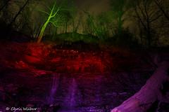 Denlow Light Painting (awaketoadream) Tags: light red ontario green night painting lights waterfall spring colours purple hamilton niagara falls escarpment denlow