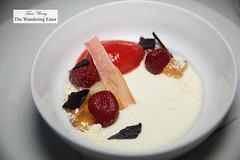 Strawberry hibiscus sorbet, laurel panna cotta, chamomile, celery (thewanderingeater) Tags: atlanta dinner georgia buckhead finedining restauranteugene
