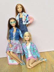 Pretty dolly trio. (Emilypm3) Tags: floral doll barbie teresa fashionista denimjacket dollcollection barbieclothes barbiestyle cathkidstontin leasculpt madetomove