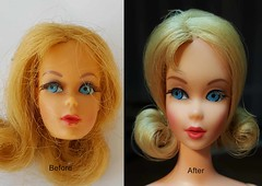 tnt marlo flip before and after (Pania Cope) Tags: hk vintage mod ooak barbie skipper wip scooter before hong kong restore restoration after ponytail resin tnt bild clone lotta lilli midge tlc repaint pania faceup sidepart bubblecut