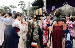 (lilacandhoney) Tags: trip travel winter girls friends color nature colors beauty festival canon asian daylight women scenery kyoto asia day colours blossom hiver group ceremony competition lass memory snack asie moment hive printemps kyudo kyuudou