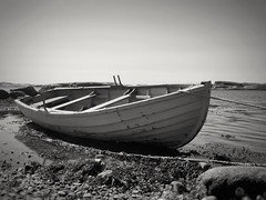 Good Evening (maya the viking_girl) Tags: sea sky blackandwhite seascape seaweed texture beach nature water monochrome norway landscape boat outdoor may peaceful tranquility rope serenity bnw tjme
