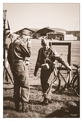 Dad's Army IV (go18lf2004) Tags: bicycle sepia vintage soldier war military uniforms weapons shoreham interaction sergeant homeguard