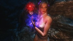 TESV - Red, white, and blue (tend2it) Tags: kenb elder scrolls skyrim v rpg game pc ps3 xbox screenshot sweetfx enb krista demonica race sg lilith 161 felicia dress white pearl magic dual wield string cave dark lighting arcane