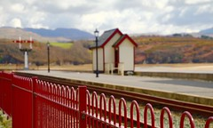 The red signal is down (jeannie debs) Tags: red mountains station train fence landscape coast countryside railway steam friday signal fenchfriday fencedfriday
