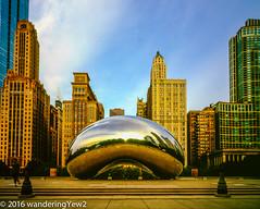 Chicago2016CloudGateMorning-470 (wanderingYew2) Tags: sculpture chicago reflection 120 film mediumformat illinois downtown milleniumpark publicart cloudgate filmscan