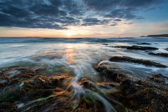 River of light (T_J_P) Tags: ocean sunset sea sky beach water clouds coast movement rocks cornwall tide tidal sennen