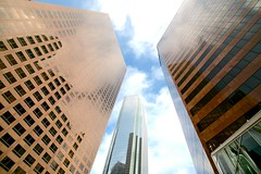 (algaimaging) Tags: blue sky brown reflection lines architecture clouds three daylight losangeles downtown sunny dtla converge bulding