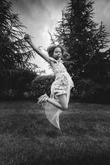 kinda (Ivan Peki - www.ivanpekic.com) Tags: child girl jump bw joy happy happiness young kid nature view love