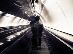 Goodbye (perfectbizzarething) Tags: travel guy shirt stairs train waiting darkness away pale blinded trainstation alternative goingaway malemodel fahion plaidshirt nowheretogo
