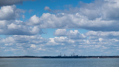 Oil refinery. DSCF7961 (s0ulsurfing) Tags: s0ulsurfing 2016 clouds cumulus oil refinery fawley solent